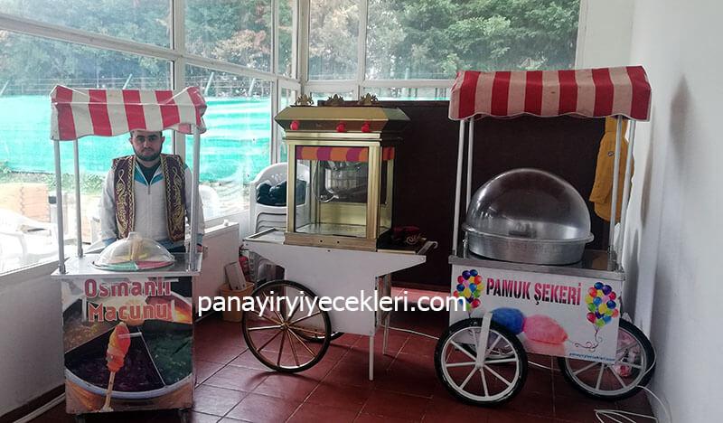 kiralık pamuk şekeri ve patlamış mısır arabası